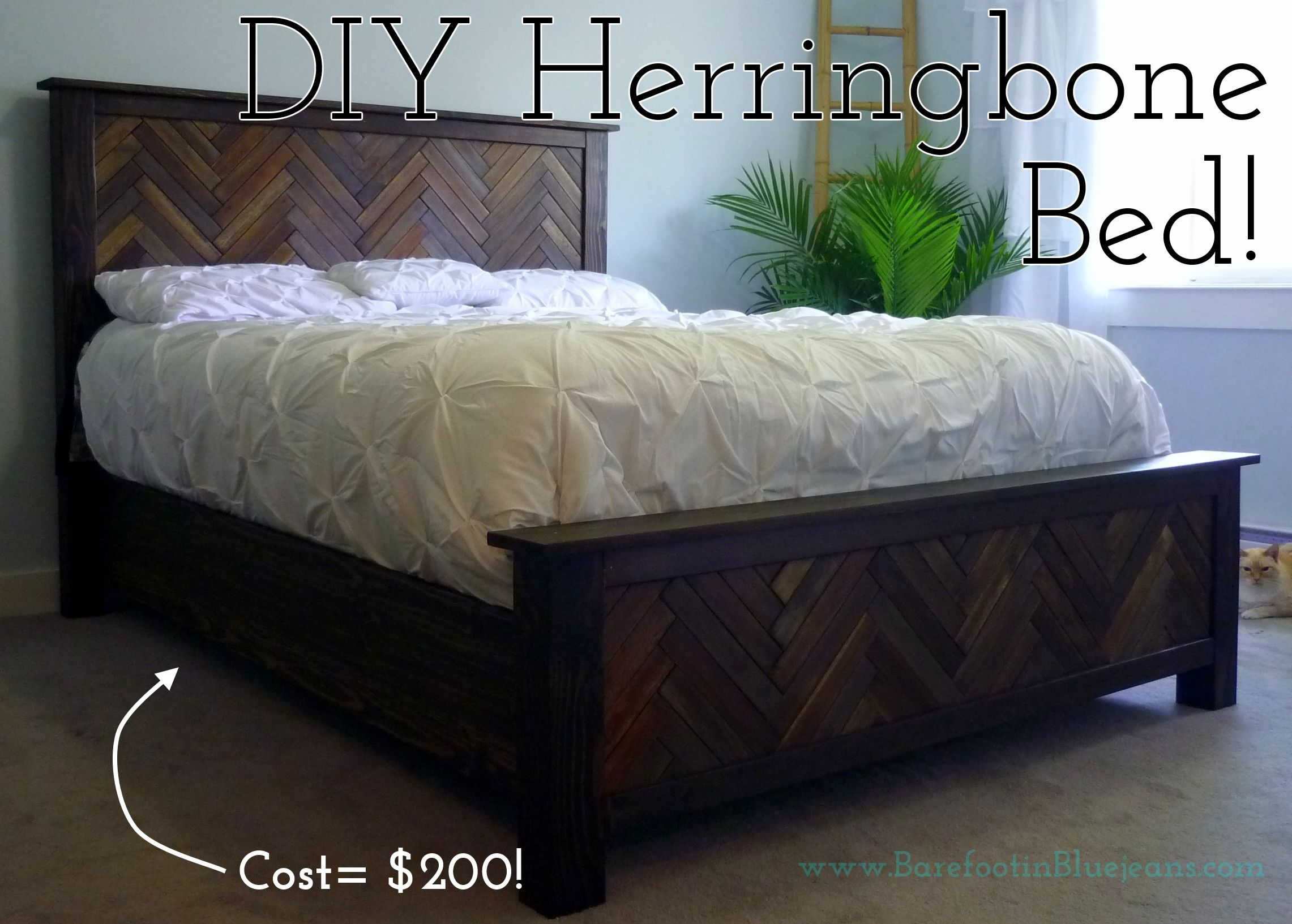diy herringbone bed, headboard, footboard Bed frame