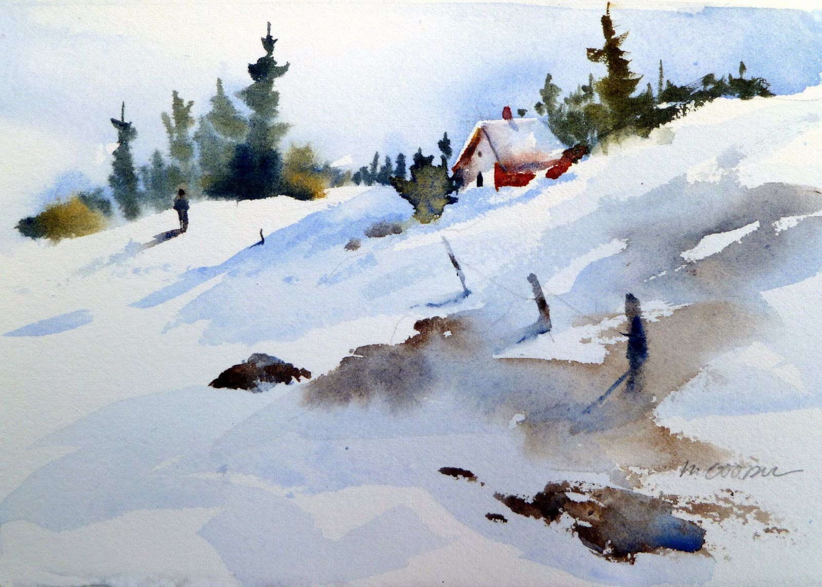 Watercolor snow scenes of the fall quarter i brought for Watercolor scenes beginners