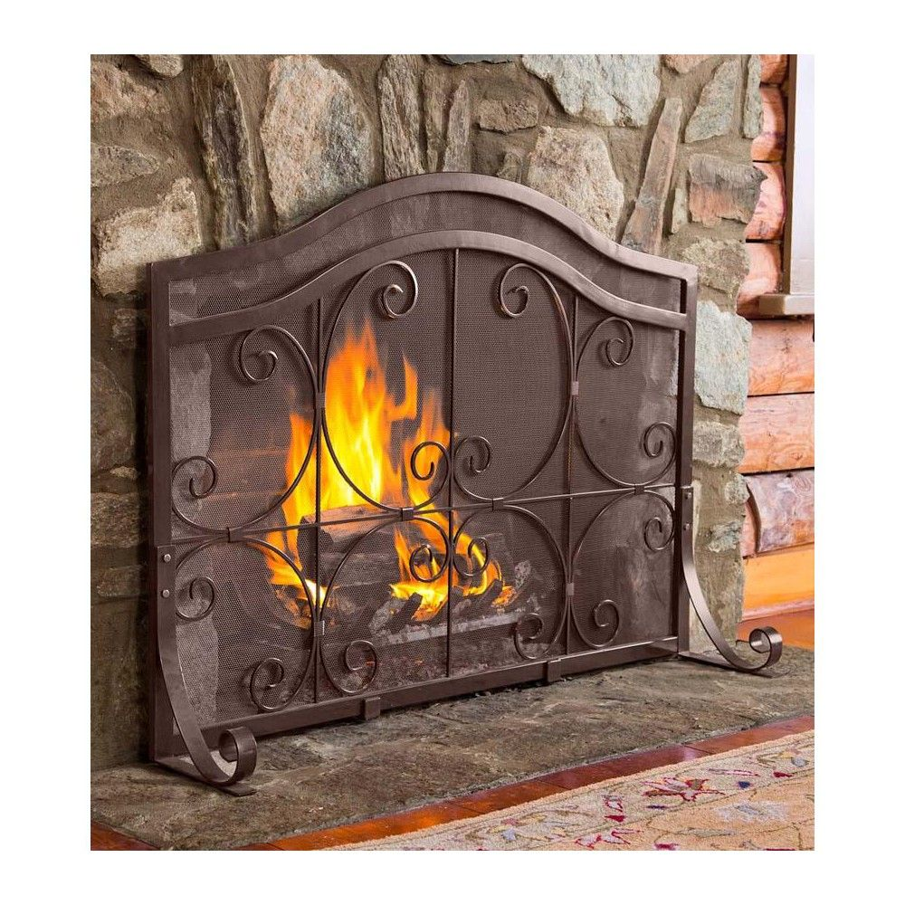 Small Crest Flat Guard Fireplace Fire Screen Copper Plow