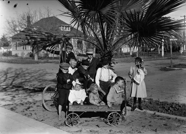 Gunther family children with others, Orange County California,Christmas Day, 1907. Photo by Adolph Dittmer, Sr.