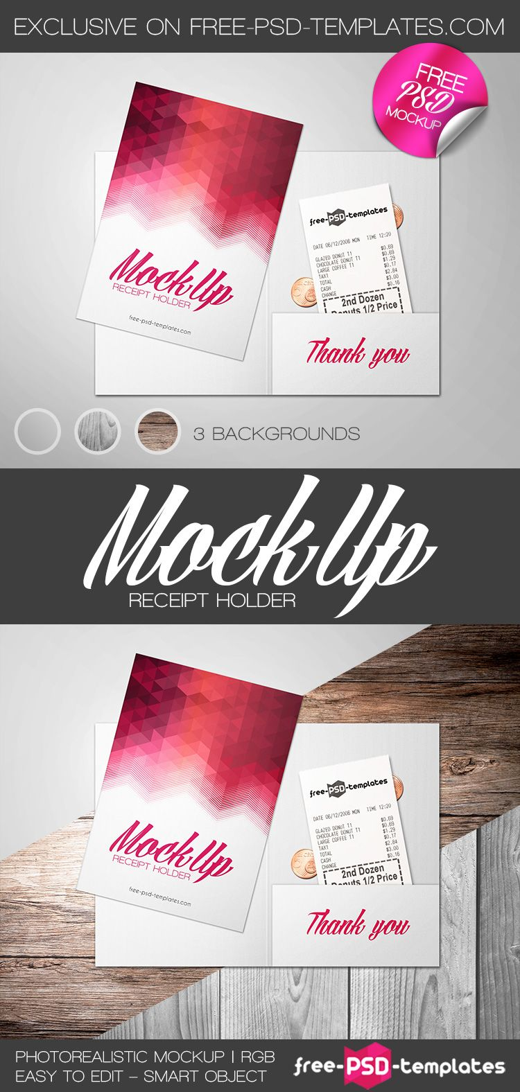 Free Receipt Holder Mock Up In Psd Psd Template Free Mockup Free Psd Psd