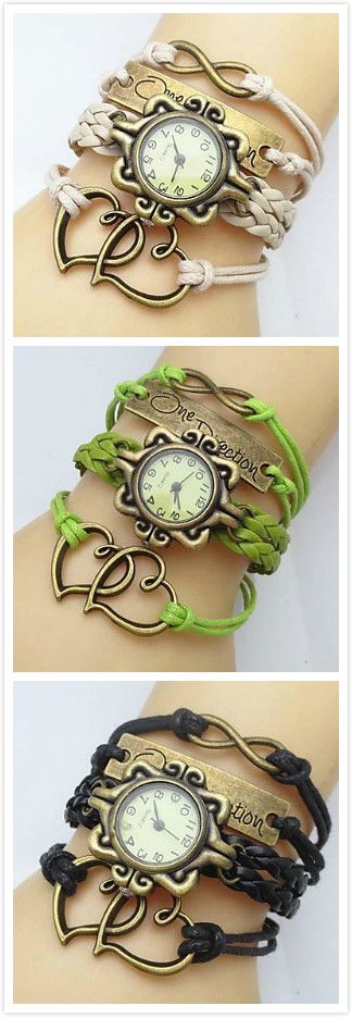 Women's Watch Flower Dial Heart Infinity Leather Weave Band Cool Watches Unique…