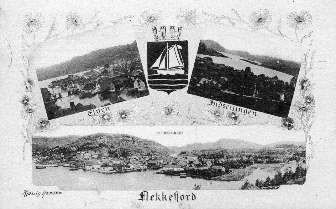 Vest-Agder fylke FLEKKEFJORD kommune . KORT MED TRE MOTIV + KOMMUNEVÅPEN. UTG KIØNIG HANSEN