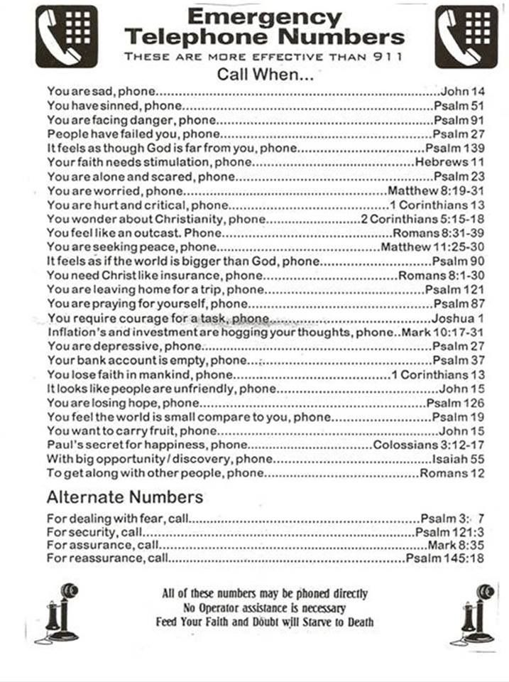 Emergency Bible Telephone Numbers The Bible provides support for all