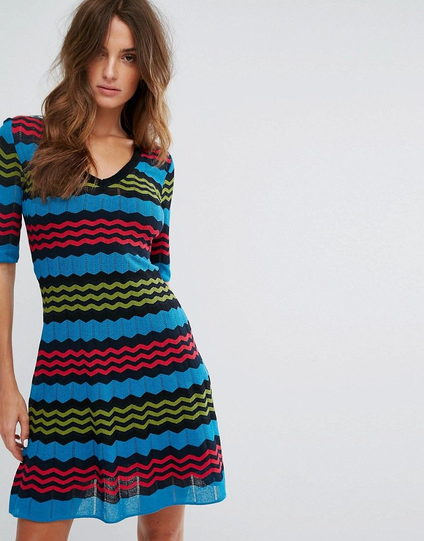 a9ff213c6060 M Missoni Short Sleeve A Line Wool Mix Knit Dress - Multi