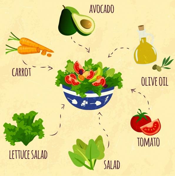 Salad design elements fresh vegetable icons decor Free
