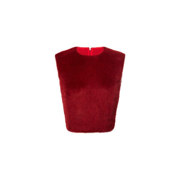 Giambattista Valli Long Hair Alpaca Top ($1,180) via Polyvore featuring tops, sleeveless crop top, red top, sleeveless tops, red sleeveless top and giambattista valli