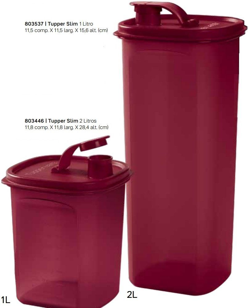 b3fcfbbfd8 Kit Tupper Slim Tupperware Porta Mantimentos 1 Litro E 2 Litros ...