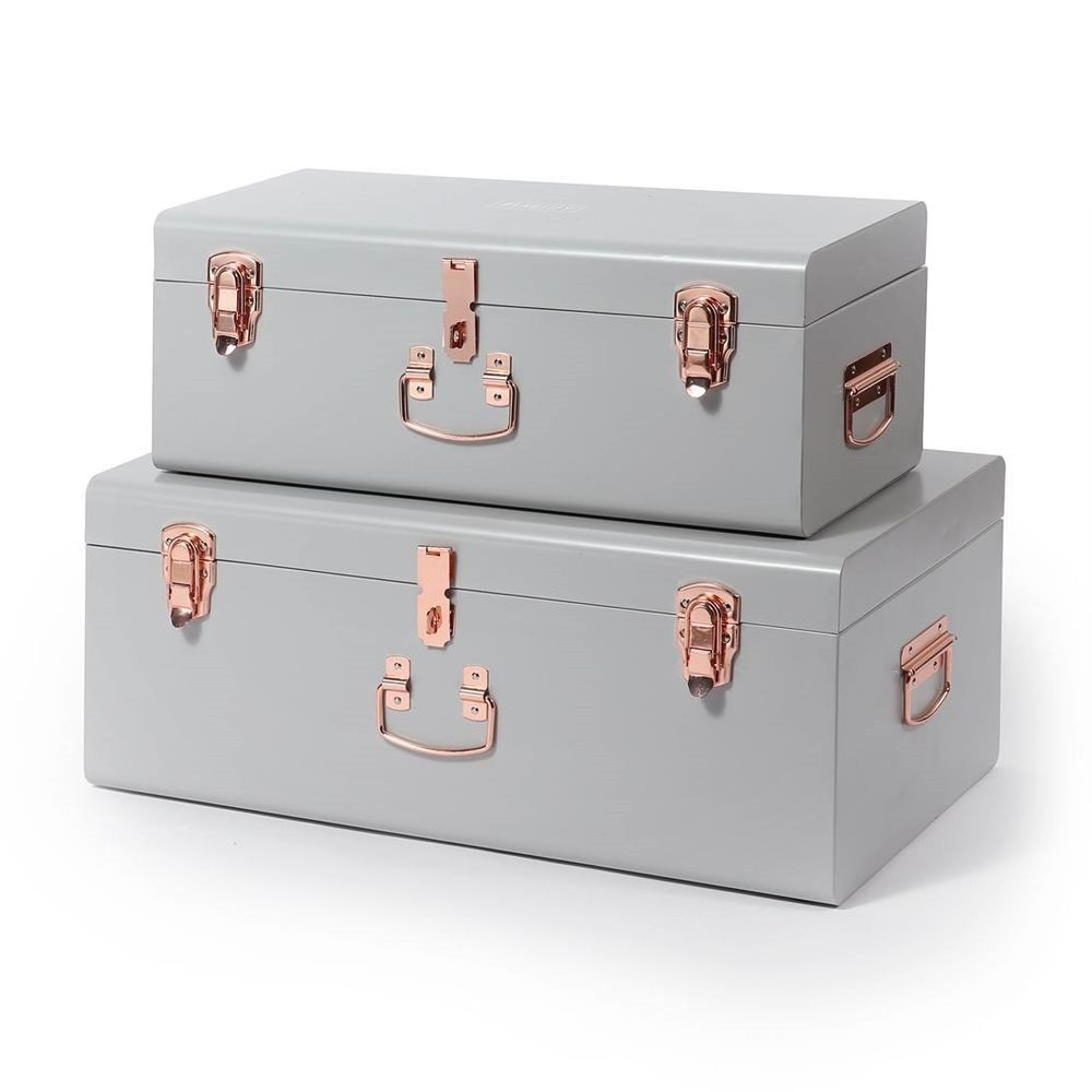 Details about Beautify Storage Trunks Chest Set of 9 Grey & Rose
