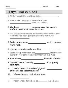 Bill Nye Rocks and Soil Video Guide Sheet | Bill nye, Soil ...