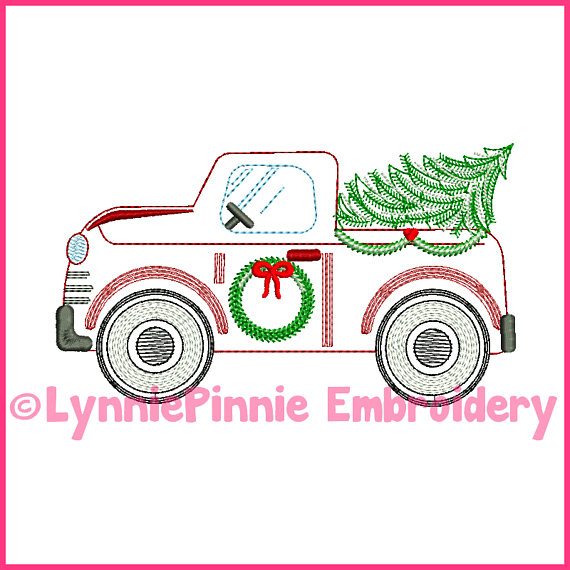 Vintage Winter Truck With Christmas Tree Colorwork Sketch