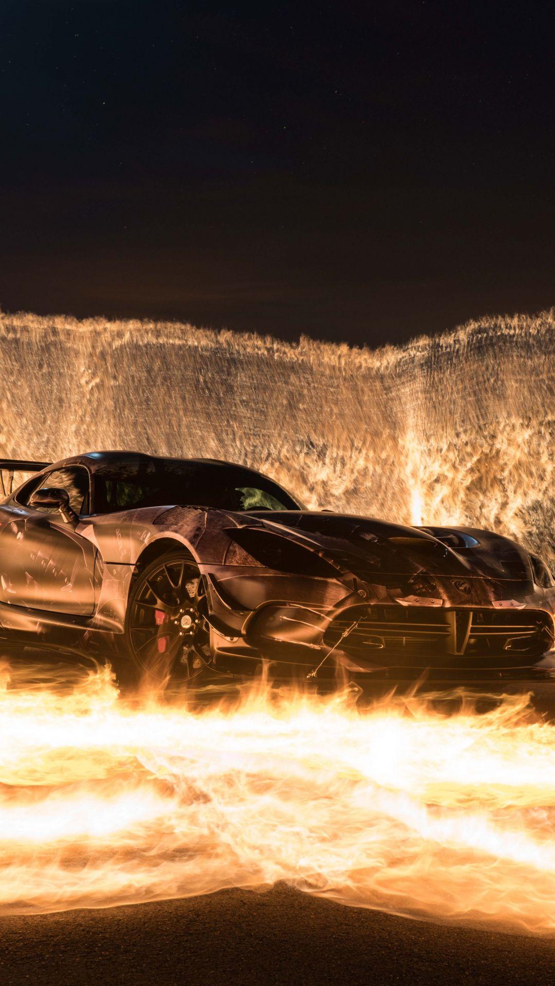 Downaload Sports car, car on fire wallpaper for screen