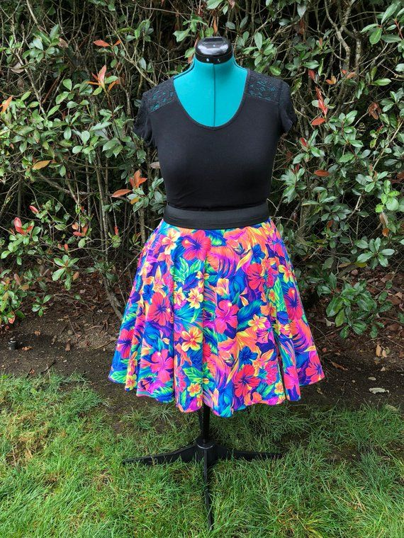cebec92a609 M-L Neon Floral Tropical Print Handmade Circle Skirt with Pockets Pin Up  Retro Rockabilly Retro Style