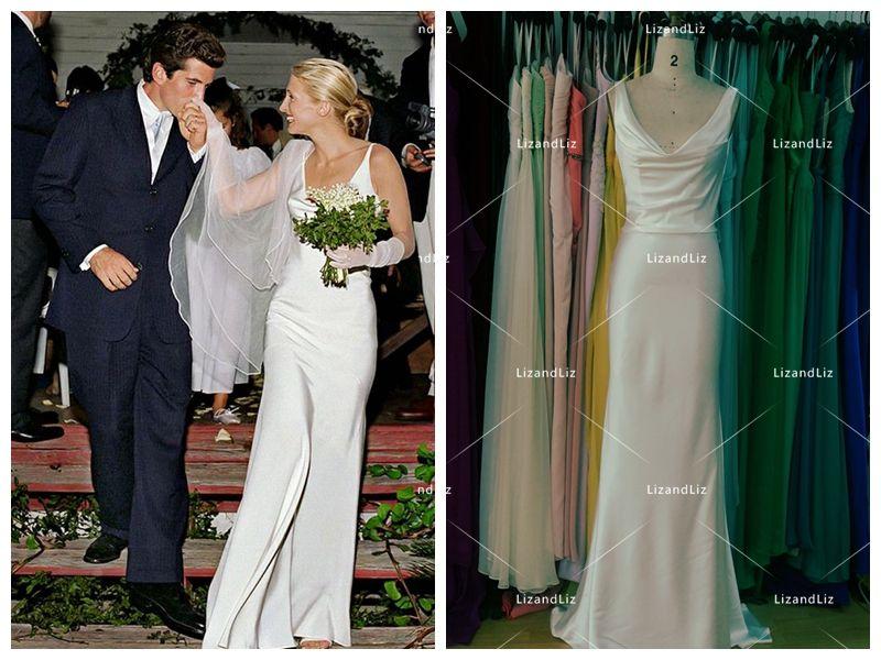 Carolyn Bessette Inspired White Sheath Satin Bridal Gown Celebrity ...