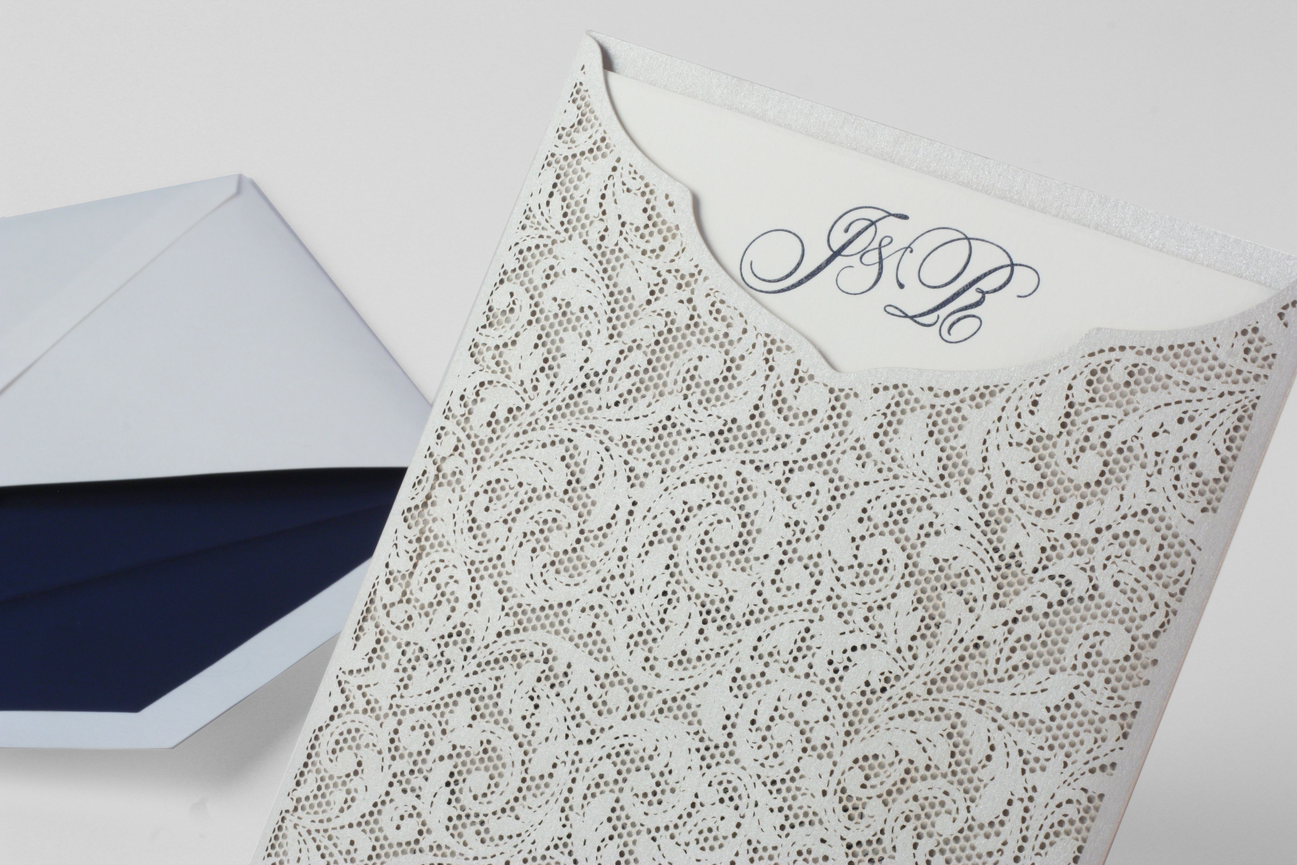 Taupe Shimmer Pocket Invitation Printed With Indigo Ink Initial