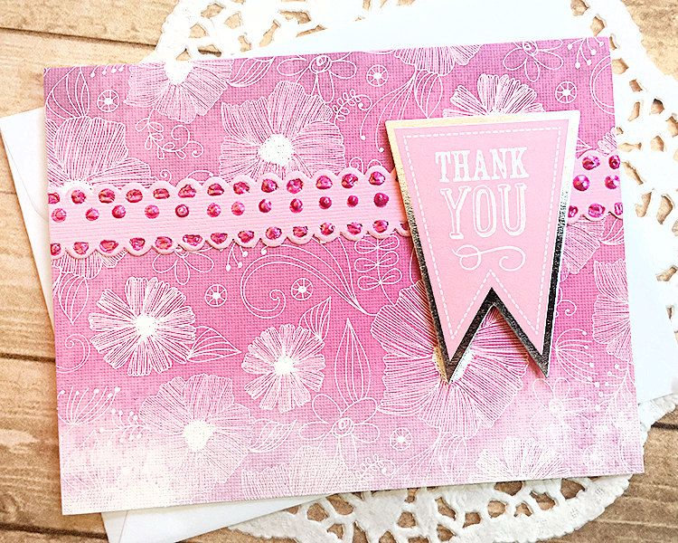 Pink Banner Thank You Note Card, Gratitude, Grateful, Thanks - thank you note to friend