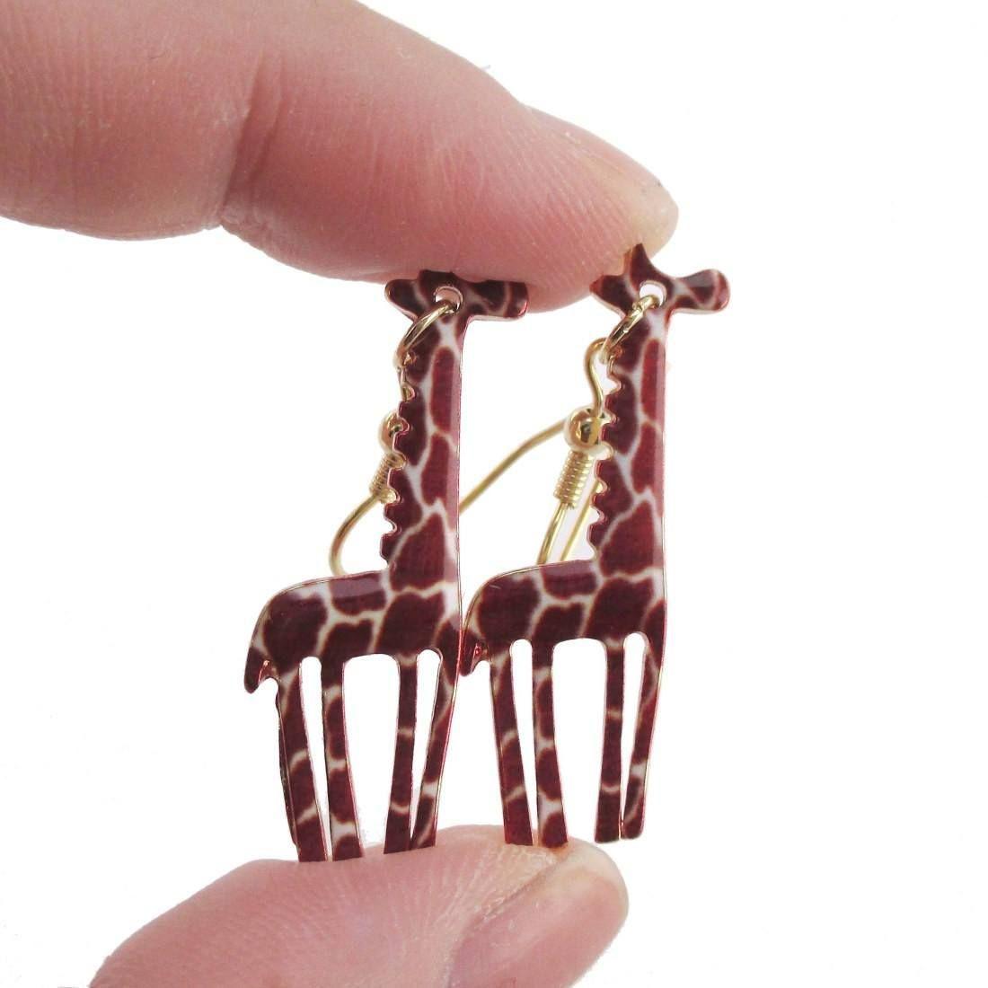 Giraffe Silhouette Shaped Enamel Animal Print Dangle Earrings