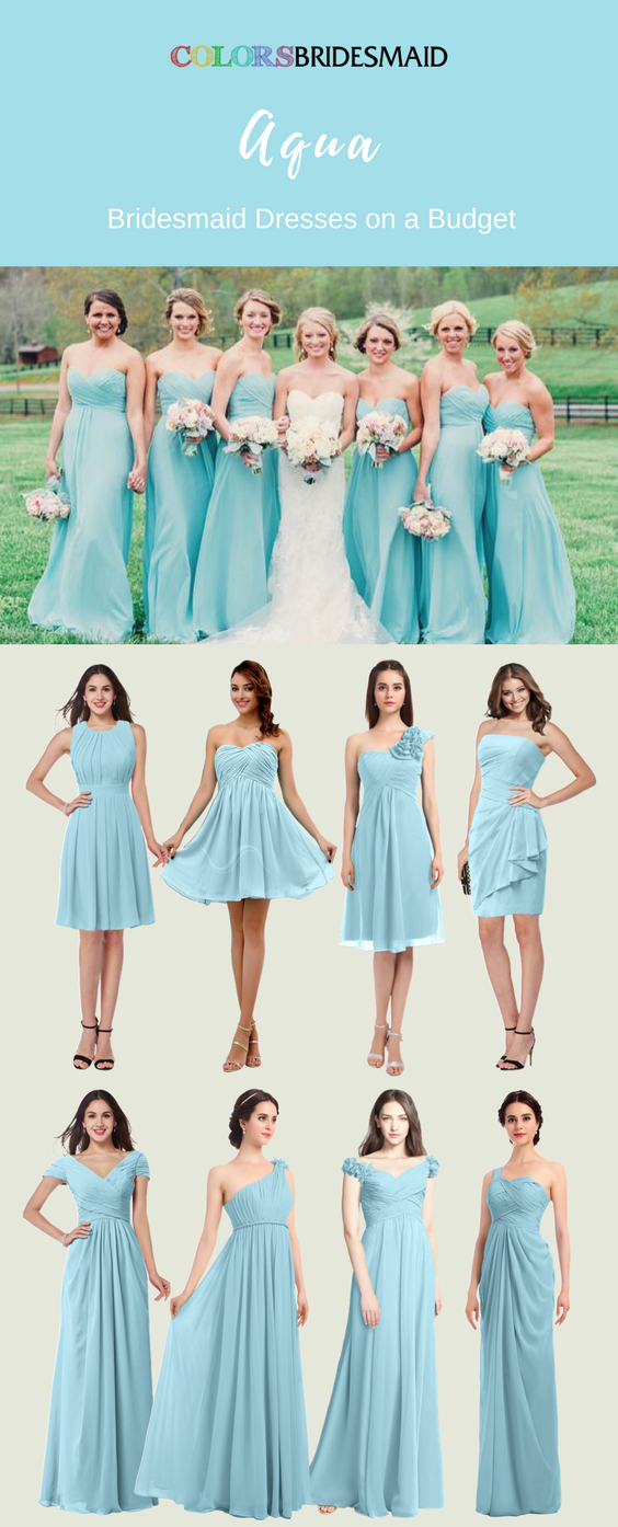 These short and long bridesmaid dresses in aqua color are great for ...
