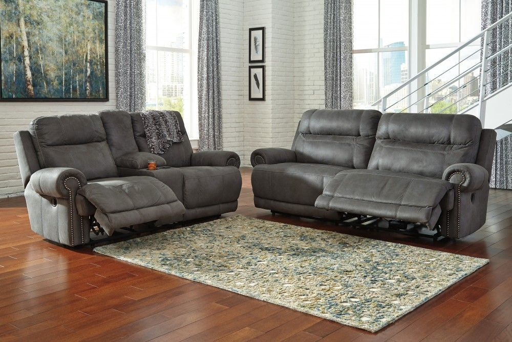 Austere Gray 2 Seat Reclining Sofa Dbl Rec Loveseat W Console 38401 81 94 Reclining Liv Couch And Loveseat Ashley Furniture Sofas Grey Reclining Sofa