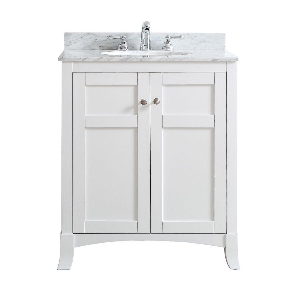 Arezzo White Carrara White Marble Top 30 Inch Single Vanity 30 White Vinnova Marble Vanity Tops Bathroom Vanity Tops Single Bathroom Vanity