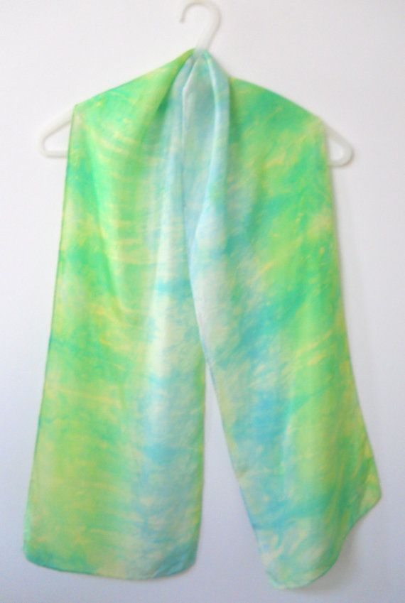 """HAND DYED SILK Scarf — Kelly Green & Baby Blue — 10"""" Wide x 57"""" Long http://etsy.me/1Jy1ff4"""