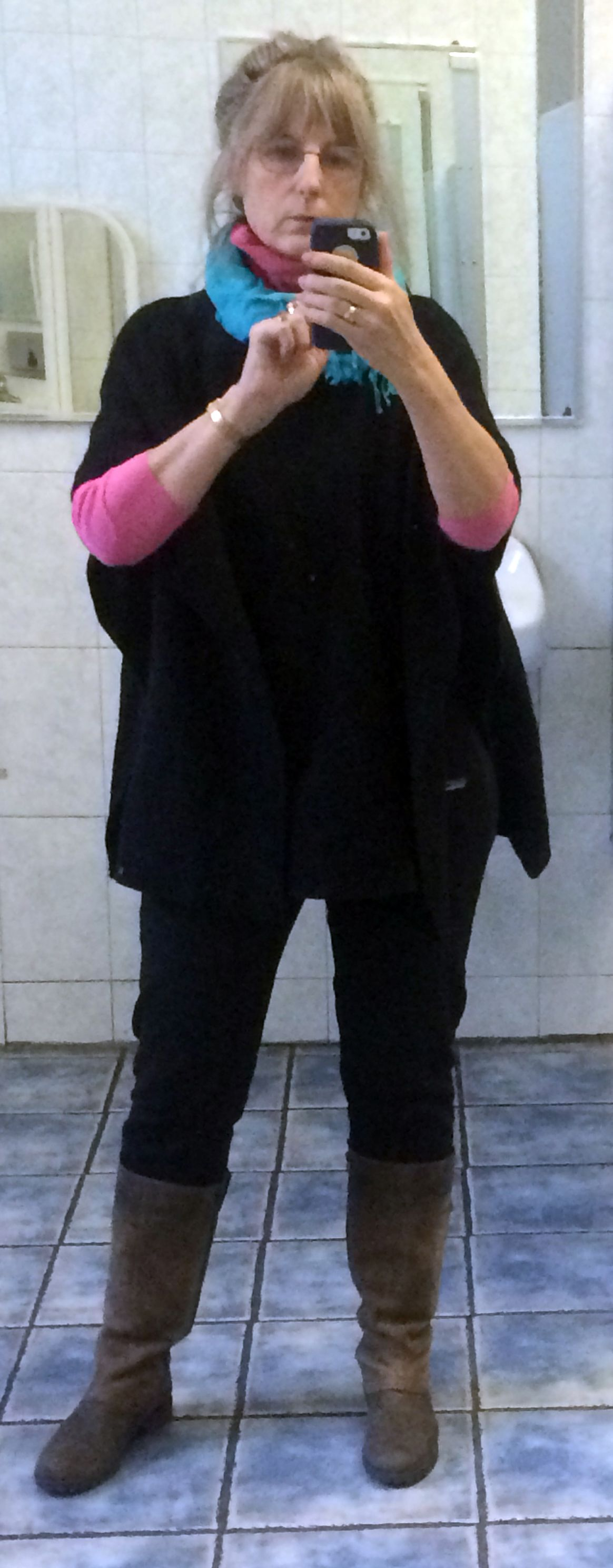 Work outfit, work morning, work loo. Same 90s Patigonia pants as other pic, pink turtleneck from 80s, turquoise 90s pashima tied as infinity scarf, Clark boots, gortex-lined and -- O' the middle-aged infamity--sweater J Jill, on sale, of course.