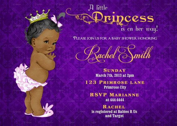 vintage purple damask and gold african american princess baby, Baby shower invitations