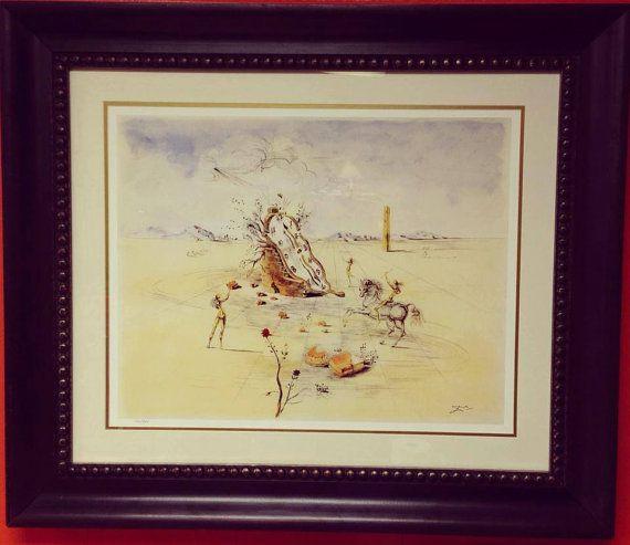 Framed Salvador Dali Limited Edition Lithograph Cosmic Horseman Art Surrealism Vintage
