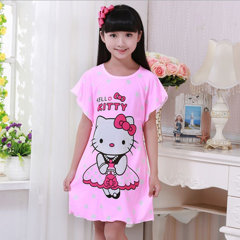 ffa7085486667 Hello Kitty Night Dress Sleepwear O-neck kids girls knit dress girls ...