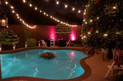 Five Lighting Ideas For A Well Lit Pool 1000bulbs Com Blog Outdoor Wedding Lighting Swimming Pool Decorations Wedding Backyard Reception
