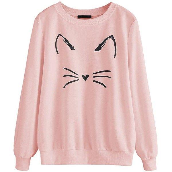 Womens Cat Sweatshirt Long Sleeve Pullover Shirt Sweaters for Women