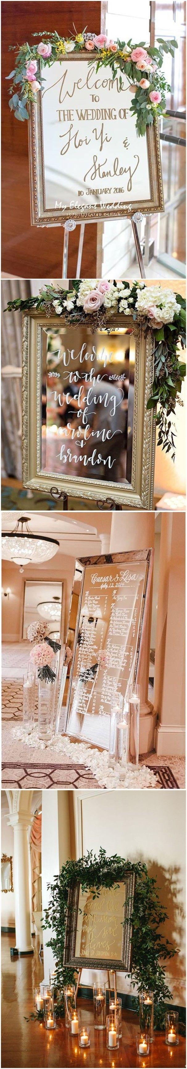 vintage mirror wedding sign decoration ideas decoration