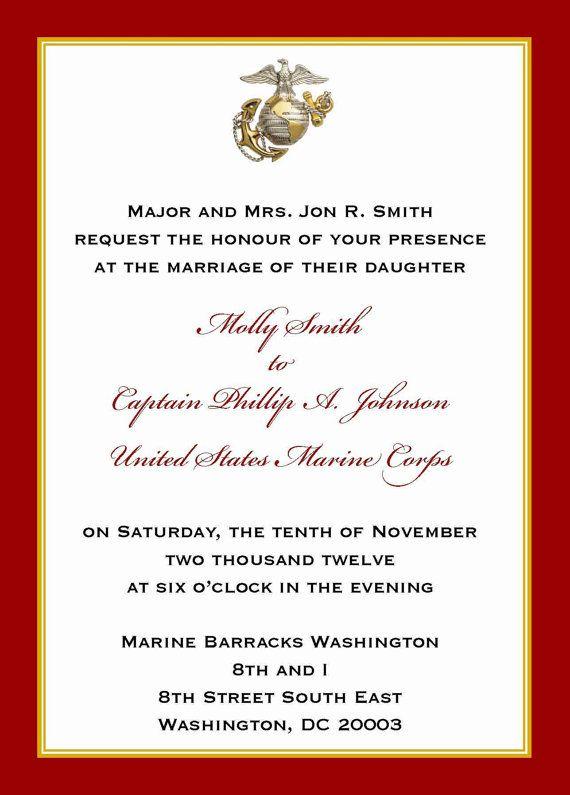 Custom 5x7 Military Wedding Invitation Marine by ...