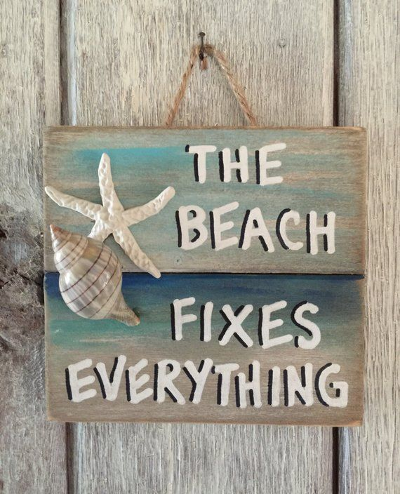 Home Decorators Outlet St Louis: Wooden Beach Fixes Everything Sign