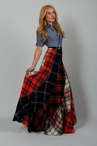 plaid swirl wool maxi skirt wardrobe pinterest jupes boh me chic et les jupes. Black Bedroom Furniture Sets. Home Design Ideas