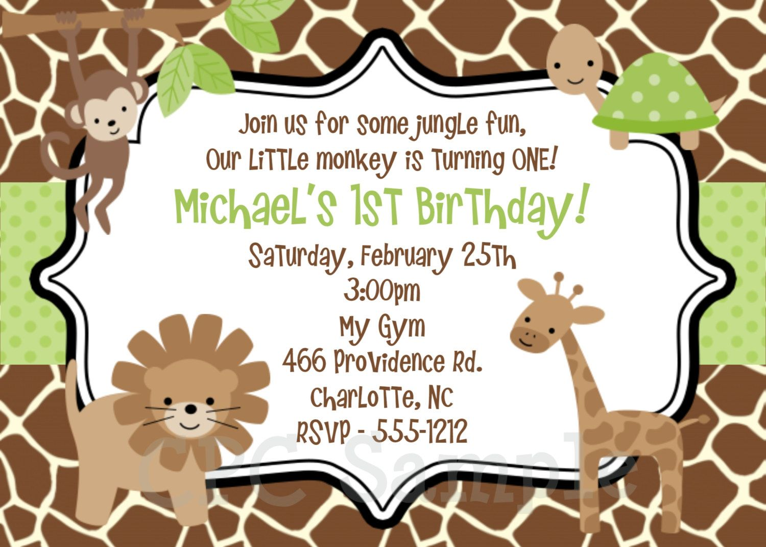 Jungle Safari Birthday Invitation Jungle Safari Birthday Party ...
