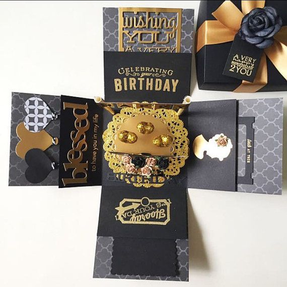 custom 23rd handmade explosion black and gold box card