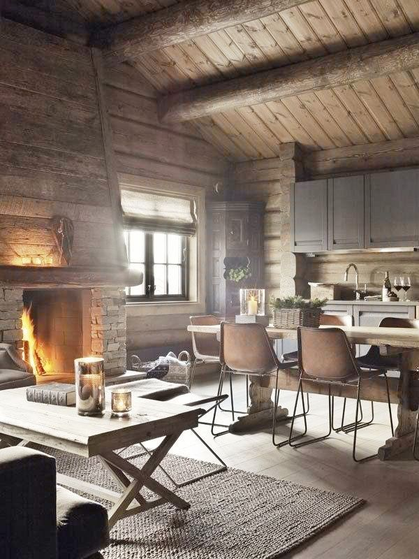 Une cuisine dans un chalet à la montagne.. | Logs, cabins ...