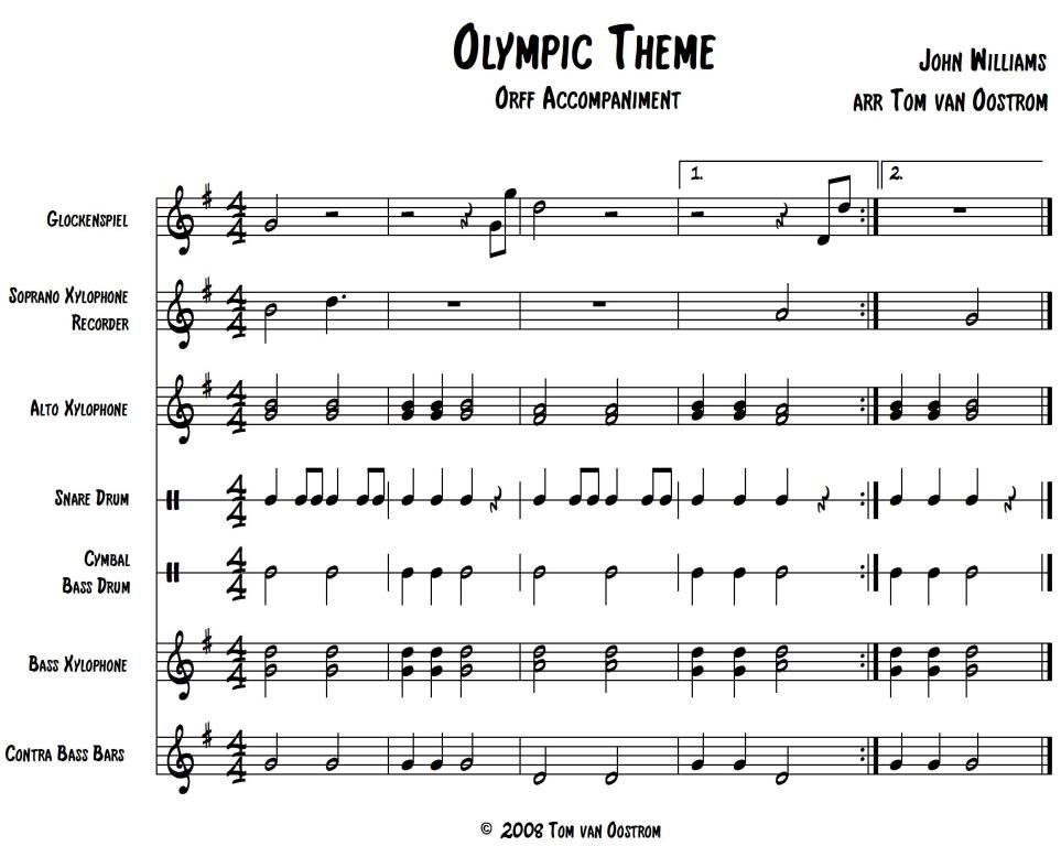 """Olympic Theme"""" Accompaniment for Orff Instruments 