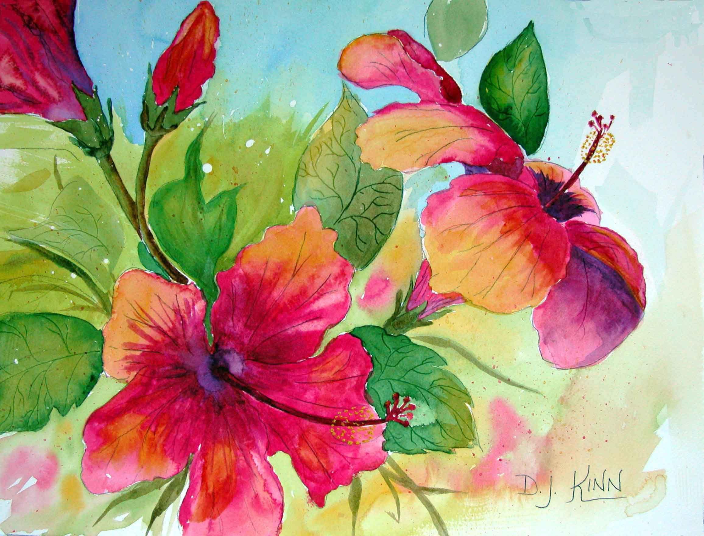Hibiscus Beauties Botanical Painting Flower Art Flower Painting