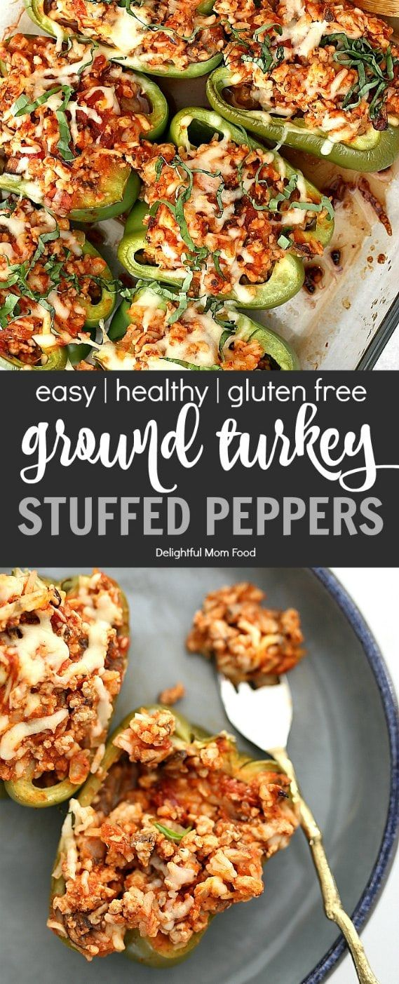 Healthy Ground Turkey Stuffed Peppers | Delightful Mom Food