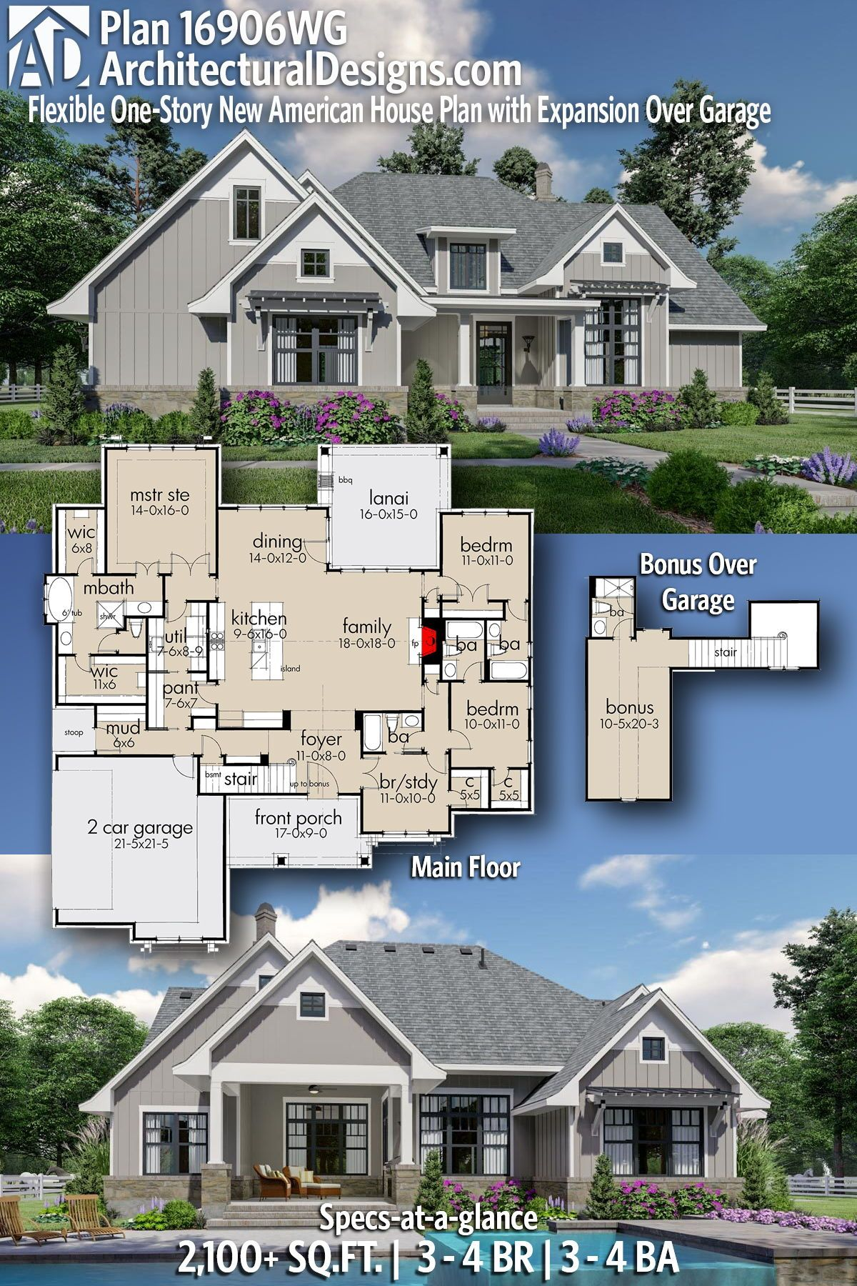 Architectural designs house modern farmhouse plan wg gives you bedrooms also flexible one story new american with rh co pinterest
