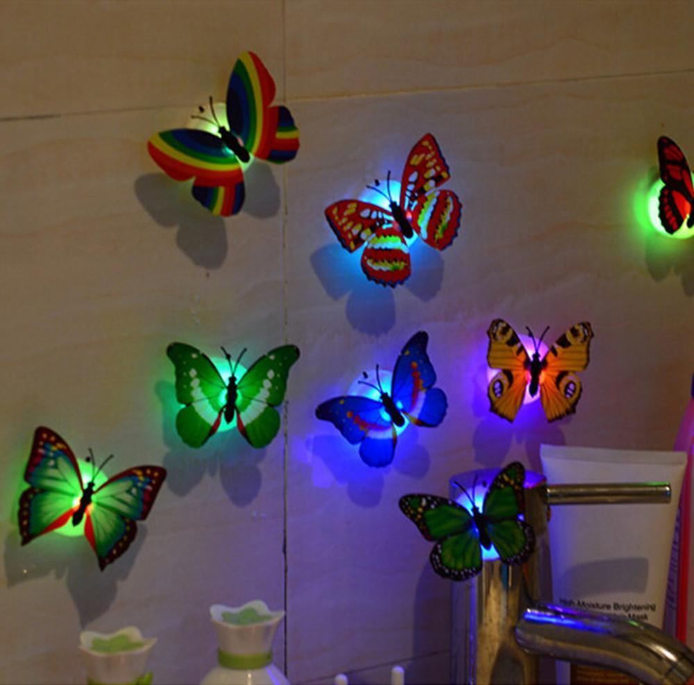 10 pcs 3d wall stickers lifelike butterfly powered led on wall stickers 3d id=23017