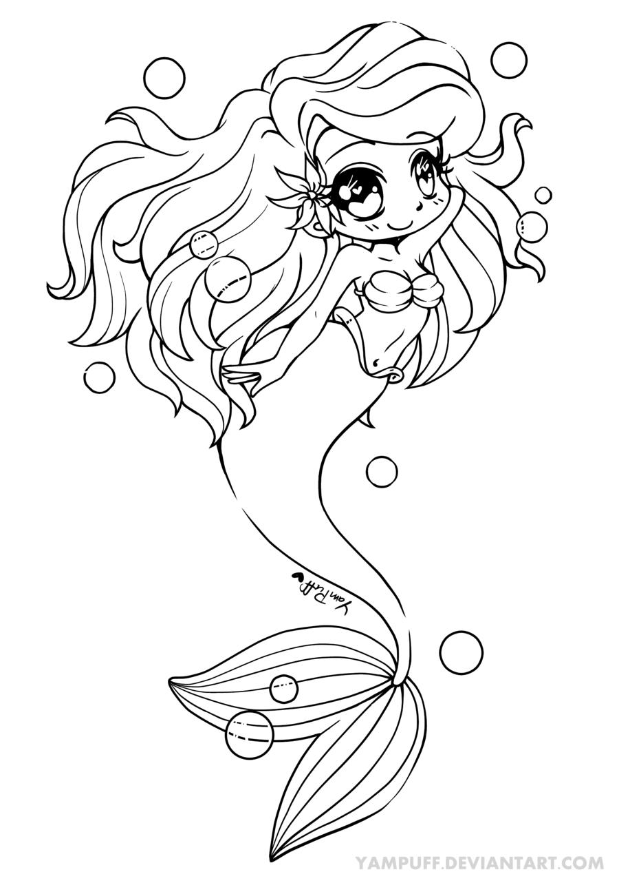 Ariel - The Little Mermaid - Mermay! by YamPuff | Line Art ...