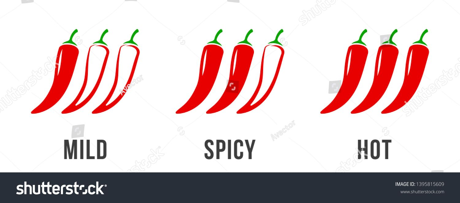 Spicy Chili Pepper Level Labels Vector Spicy Food Mild And Extra Hot Sauce Chili Pepper Red Outline Icons Sponsore Spicy Chili Spicy Recipes Stuffed Peppers