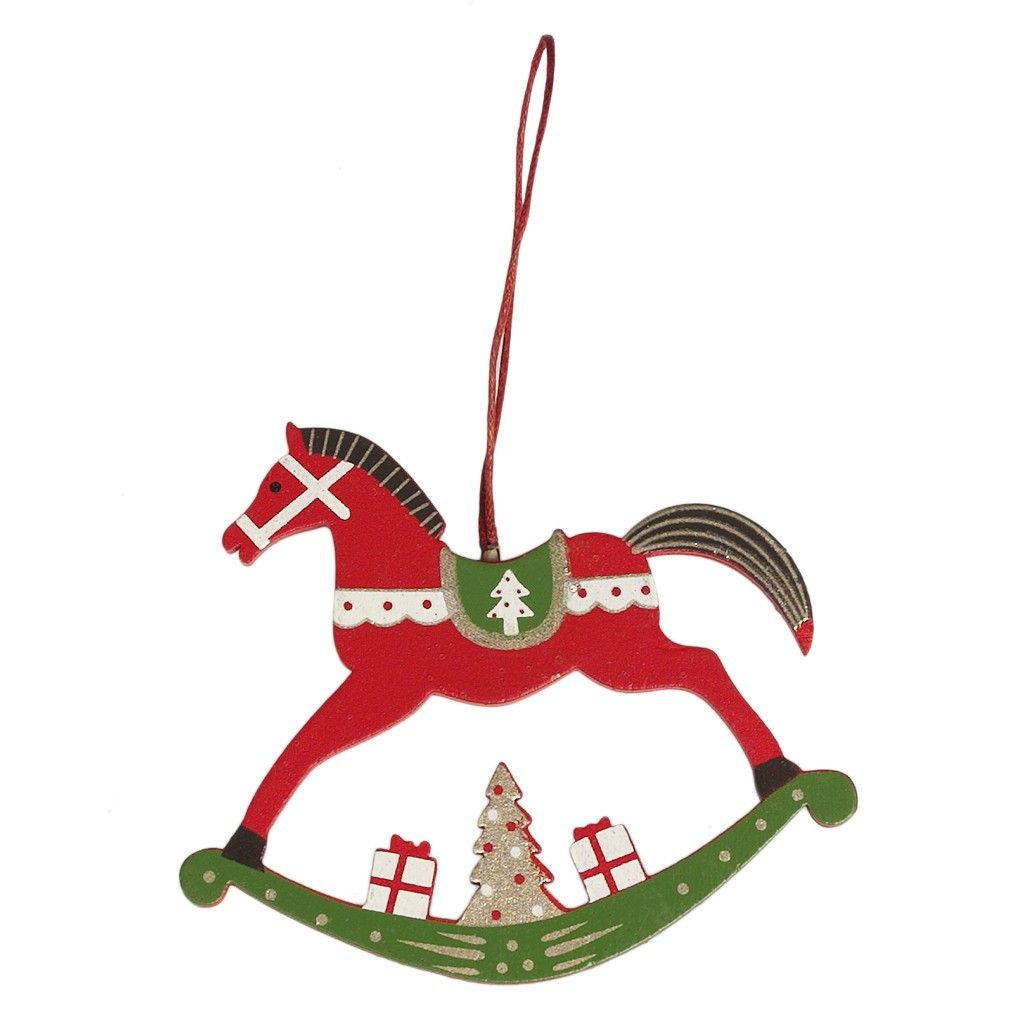 Red Rocking Horse Christmas Decoration  Dotcomgiftshop