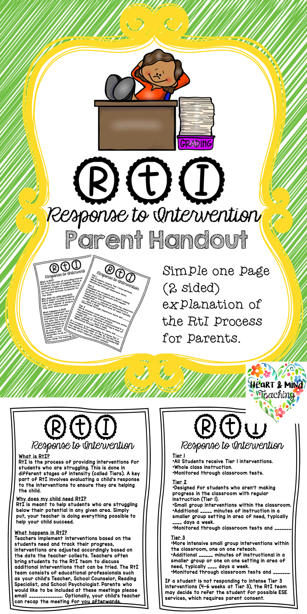 Rti Parent Explanation Handout Response To Intervention