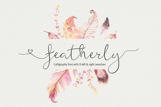 Script Font Featherly Calligraphy By AquariusLogos