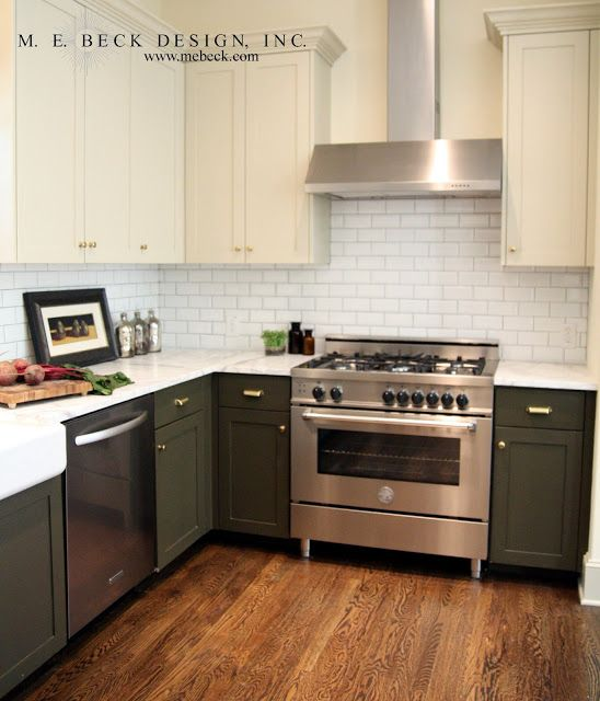 I Like The Mix Of Cabinet Color Bottom Dark Light Top With Medium Floor White Cabinets Transitional Kitchen M E