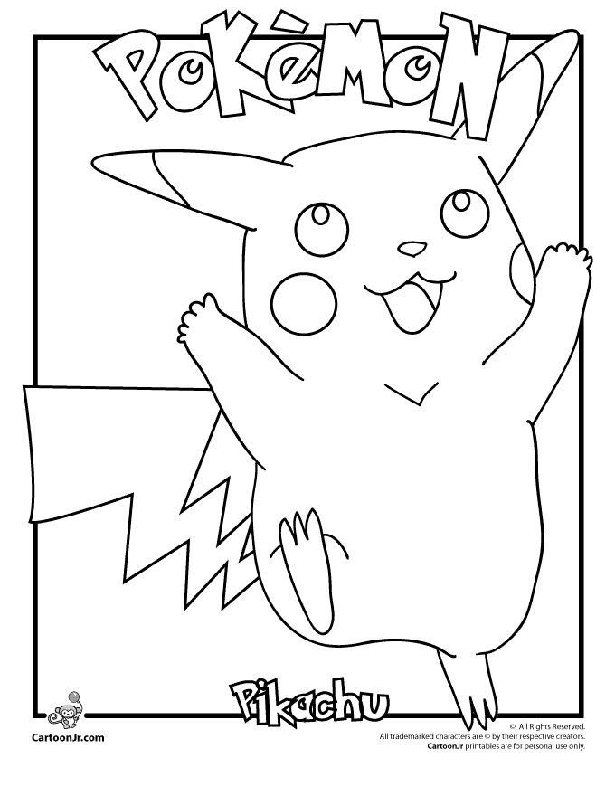 Pikachu Coloring Pages Pikachu Pokemon Coloring Page Cartoon Jr ...